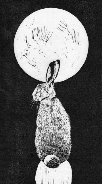 Harvest Moon Hare by Julie North printmaker